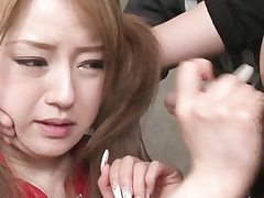 Pigtailed asian japanese babe in arms gets  facial