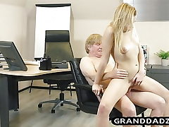 Youthful chief gets her podophilia satisfied by elder worker