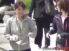 Athletic Japanese nubiles switch clothes in public
