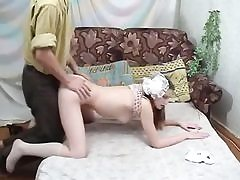 Russian schoolgirl gets shaved puss nailed