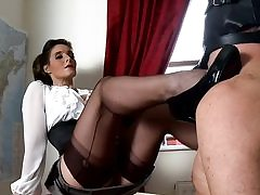 Horny instructor porks her pussy with a fuck-a-thon toy and sucks on his strap-on