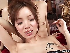 Chinese breezy with wooly cunt gets pussy slot eaten out